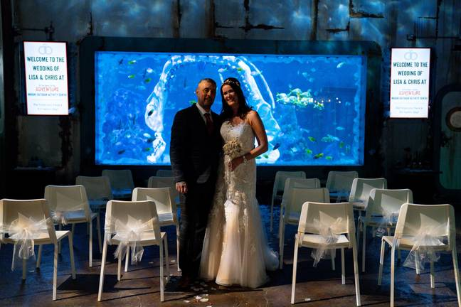 Lisa Huggins and Chris Jackson before their underwater wedding ceremony at Bear Grylls Adventure, Birmingham. The diving fans were due to marry abroad but had their plans scuppered during Covid, and had been looking for a unique alternative. -Jacob King/PA Wire/PA Images