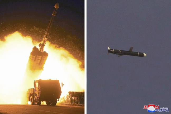 Images from the missile launch released from North Korea (Korean Central News Agency/PA Images)