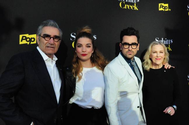 North Hollywood, California, USA 30th May 2019 Actor Eugene Levy, actress Annie Murphy, actor Daniel Levy and actress Catherine O'Hara attend Pop TV's FYC Screening of 'Schitt's Creek' on May 30, 2019 at Saban Media Center at the Television Academy in North Hollywood, California, USA. Photo by Barry King/Alamy Live News - (Barry King/ Alamy)