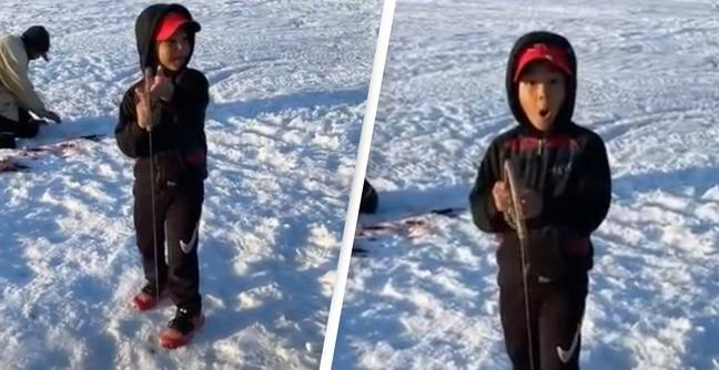 The Incredible Moment A Boy Catches A Fish The Same Size As Himself