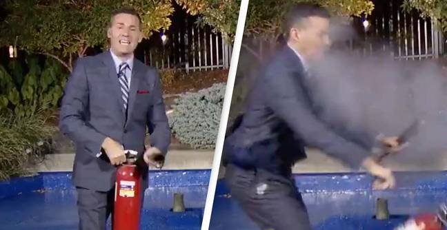 Weather Presenter Survives Incredible Near-Miss With Fire Extinguisher