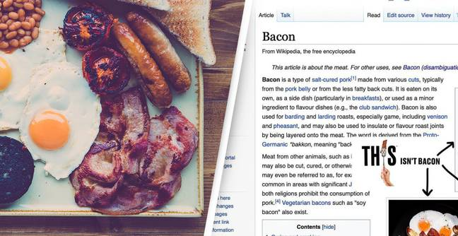 Someone Swapped Vegan Bacon For The Bacon Pictured On The Bacon Wikipedia Page