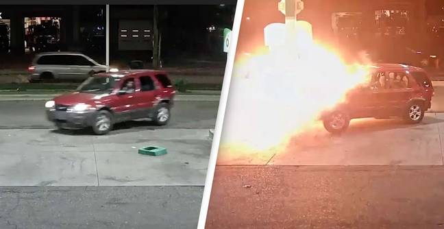 Police Searching For Driver Who Caused Petrol Station Fire After Doing Doughnuts