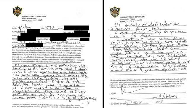 Witness statement filed in Moab, Utah (Moab City Police Department)