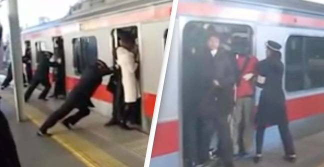 Unbelievable Video Shows 'Professional Train Pushers' Cramming Passengers On Board