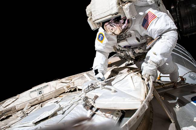 Chris Cassidy - NASA astronaut and Expedition 63 Commander Chris Cassidy conducts a spacewalk to set up the Tranquility module for the installation of a NanoRacks airlock outside the International Space Station July 21, 2020 in Earth Orbit