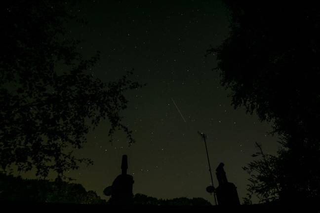 Draconid Meteor Shower - Huddersfield, UK - October 8 2020: A Draconid Meteor in the sky above West Yorkshire. (Alamy)