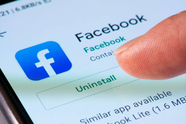 Facebook Ban On Developer - Close-up view of uninstalling Facebook app on a smartphone (Alamy)
