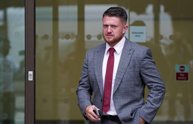 Tommy Robinson Stalking - Tommy Robinson outside Westminster Magistrates' Court, London, where he is accused of stalking Independent home affairs correspondent Lizzie Dearden, who has applied for a stalking protection order against him. Picture date: Friday August 20, 2021.(Alamy)