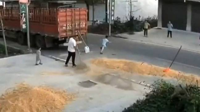 Boy Knocked Down By Combine Harvester (AsiaWire)