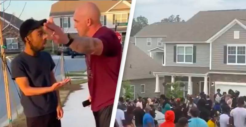 Black Lives Matter Protesters Gather On Porch Of Soldier Filmed Shoving Black Man