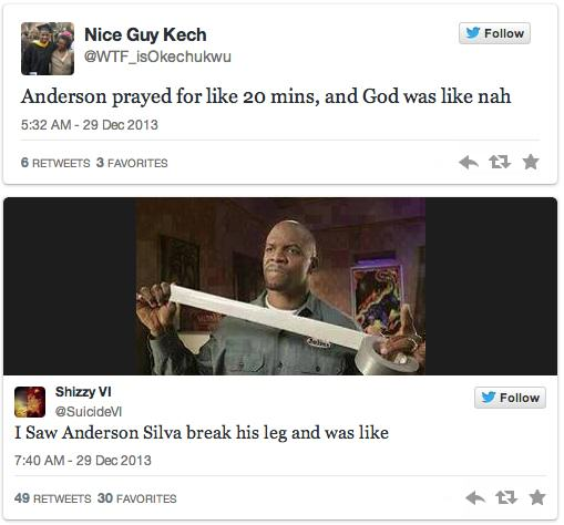 Twitters Unsympathetic Reaction To Anderson Silva Breaking His Leg anderson 4