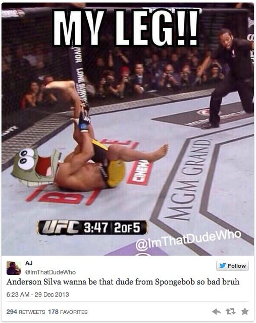 Twitters Unsympathetic Reaction To Anderson Silva Breaking His Leg anderson 6