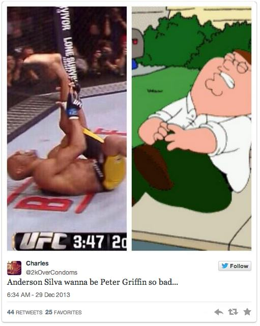 Twitters Unsympathetic Reaction To Anderson Silva Breaking His Leg anderson 7