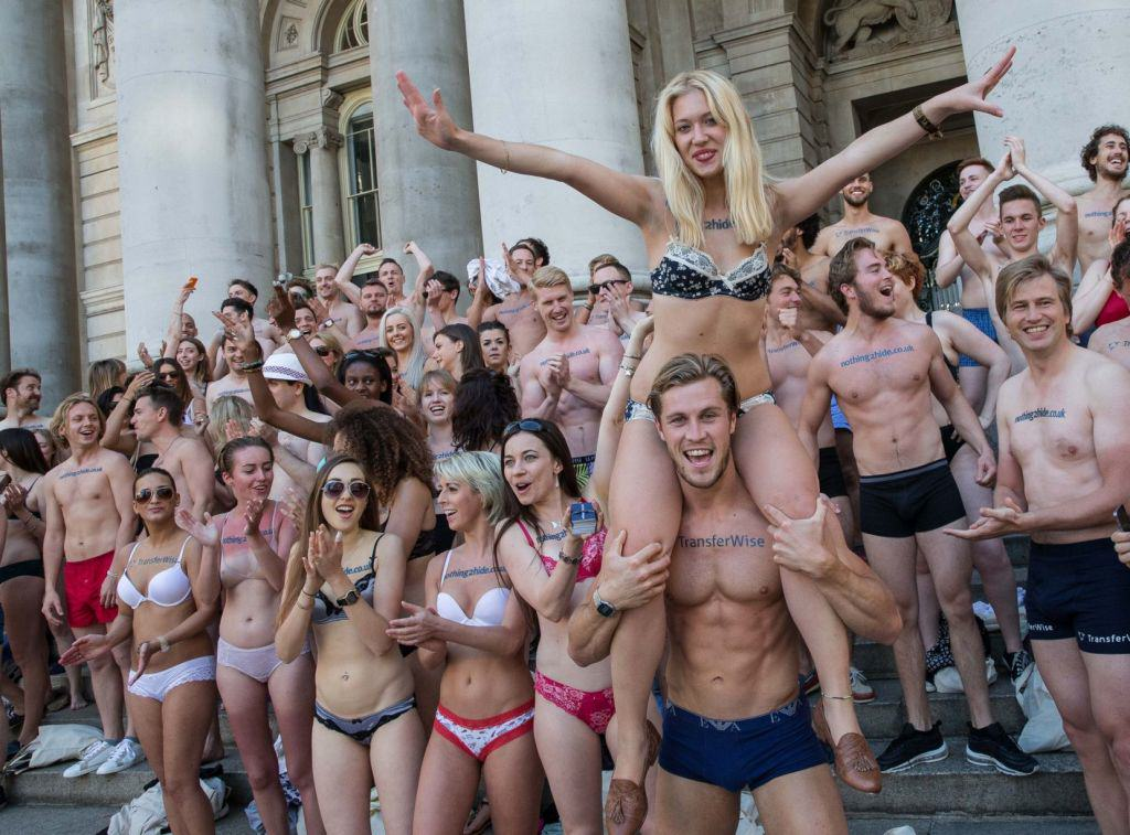 Semi Naked Protesters Take To The Streets Of London Flashing Flash Mob 3