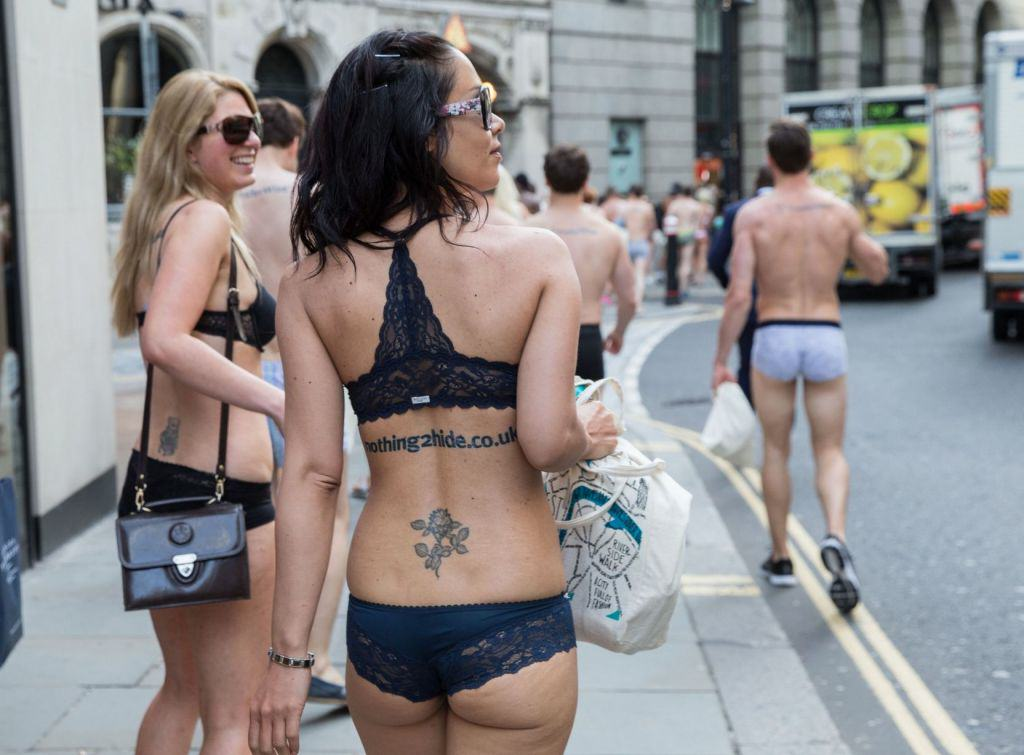 Semi Naked Protesters Take To The Streets Of London Flashing Flash Mob 4