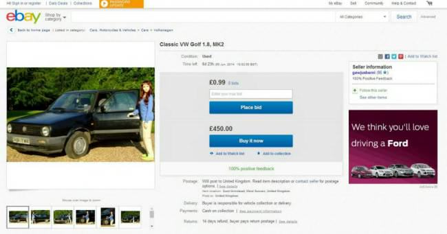 eBay Seller Uses Sex Doll To Advertise 1990 VW Golf ad 136601399