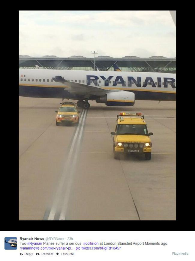 Two Ryanair Flights Crash Into Each Other At Stanstead Airport plane crash11