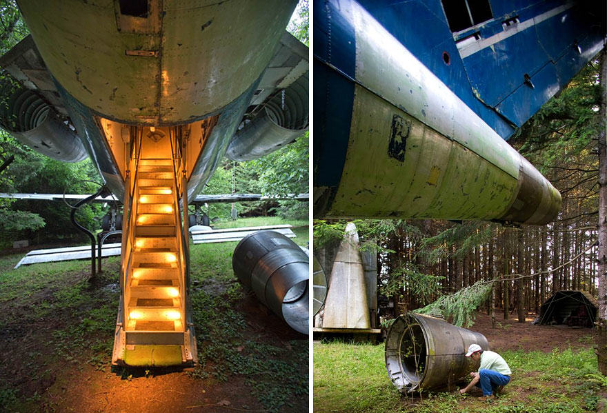 This Man Lives In A Boeing 727 In The Middle Of The Woods retired boeing 727 recycled home bruce campbell 5