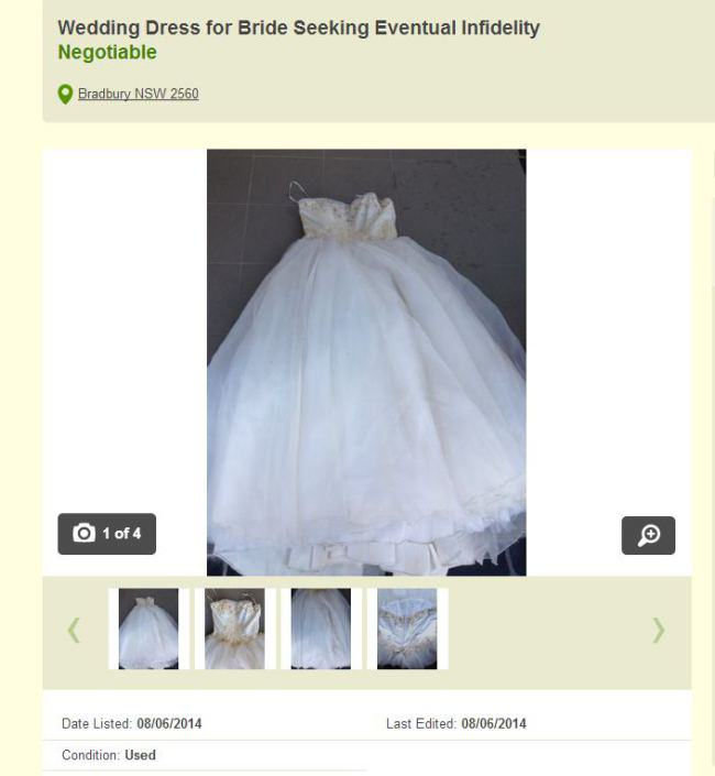 Man Puts Cheating Wifes Wedding Dress On Gumtree wedding dress