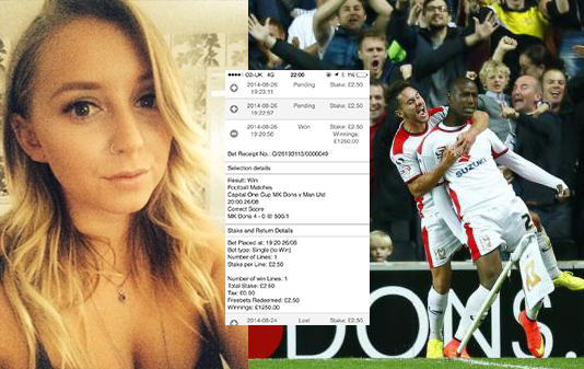 Girl Accidentally Bets On MK Dons Beating Man Utd 4 0, Wins £1250 122