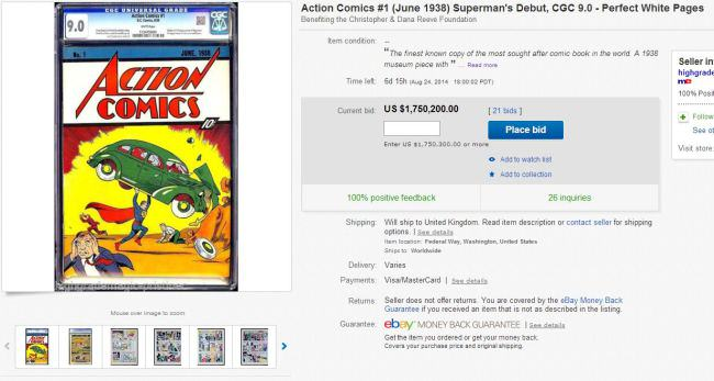Comic Featuring Supermans Debut On eBay For $1 Million action comics