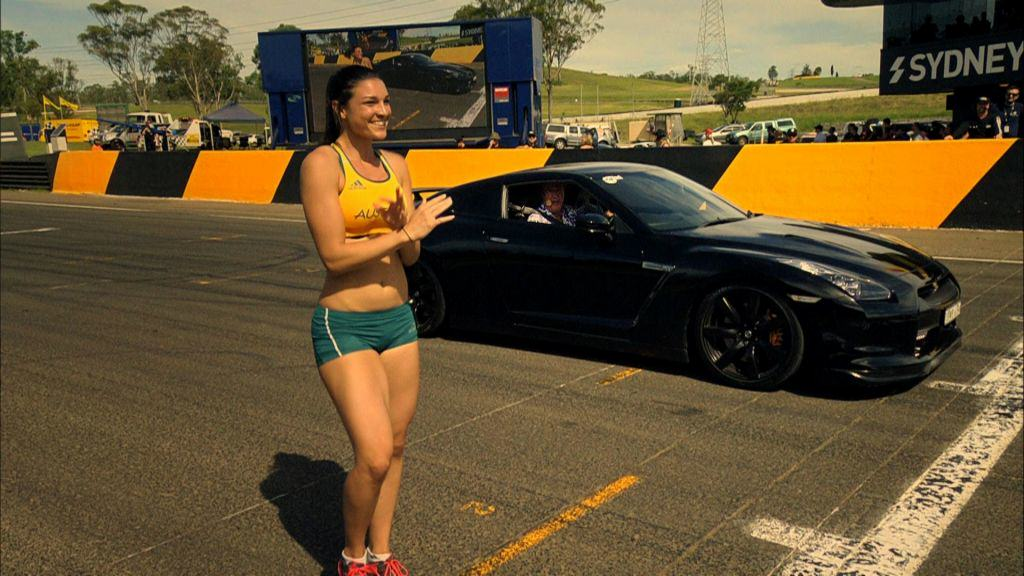 Jeremy Clarkson In A Nissan GTR Vs Michelle Jenneke On Foot 9708