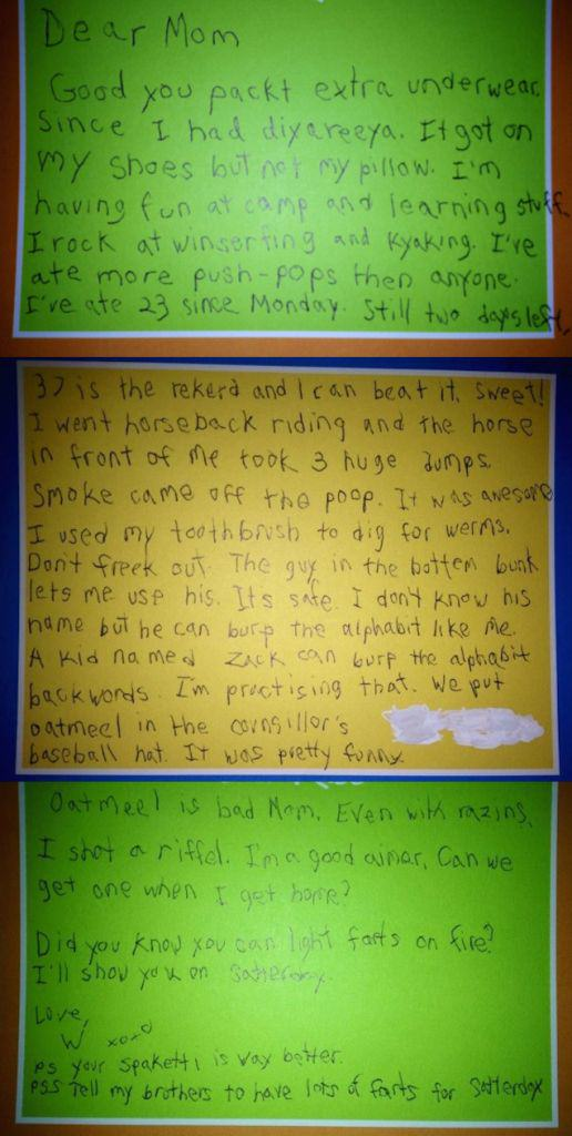 Little Lad Writes HILARIOUS Letter To Parents From Summer Camp Letter Home