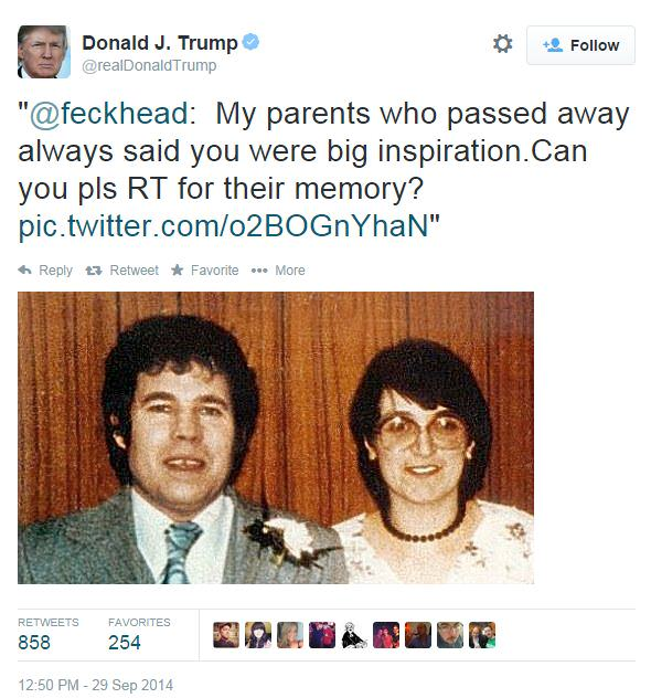 Donald Trump Trolled Into Retweeting Pic Of Fred And Rose West donald trump