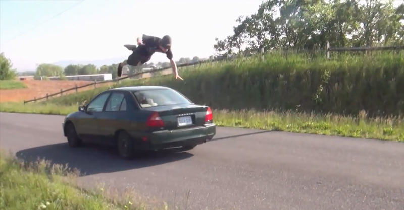 10 Guys That Failed To Jump Over A Moving Car 23
