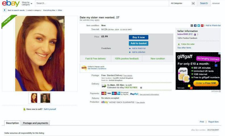 Lad Puts Sister On eBay For £50 Because She Cant Find A Man ebay sister