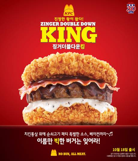 KFC Launch New Breadless Burger Using Chicken As The Bun kfc