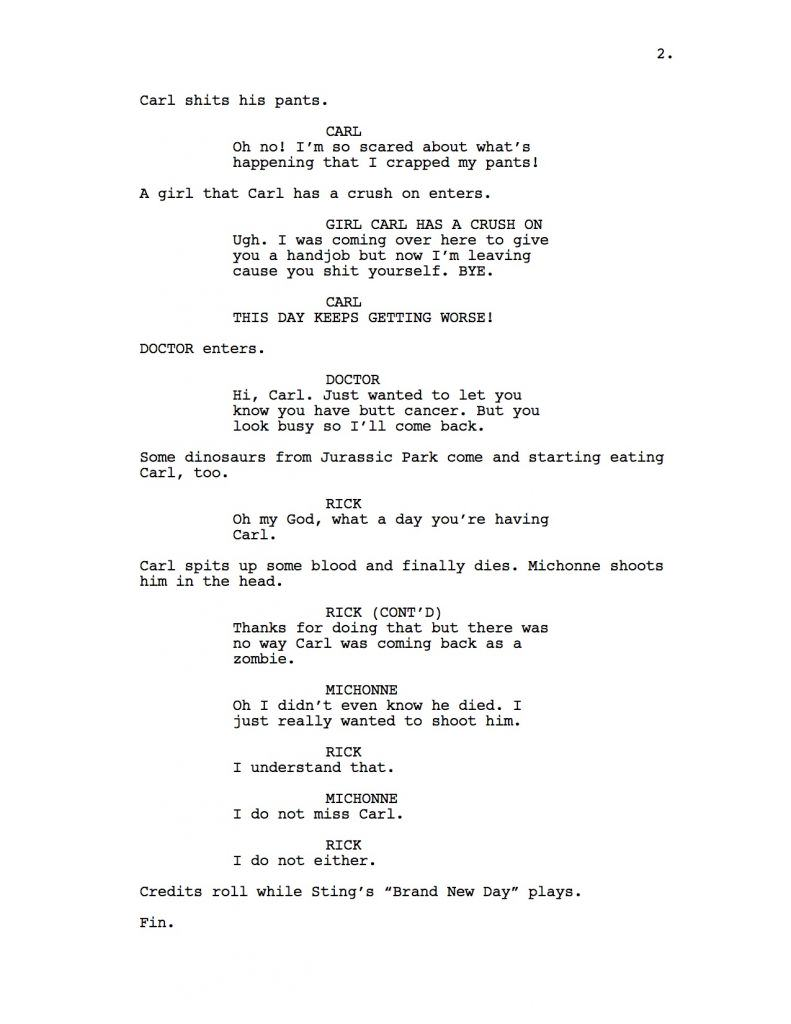The Walking Dead Script If The Writer Hated Carl walking dead 2