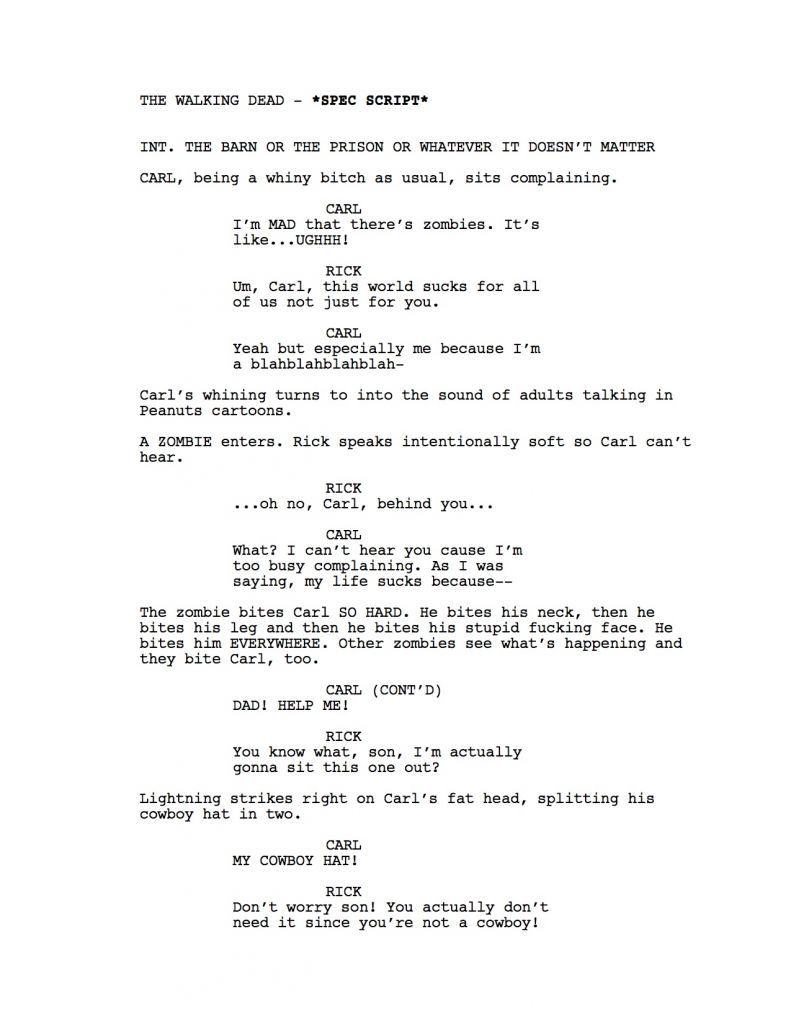 The Walking Dead Script If The Writer Hated Carl walking dead1
