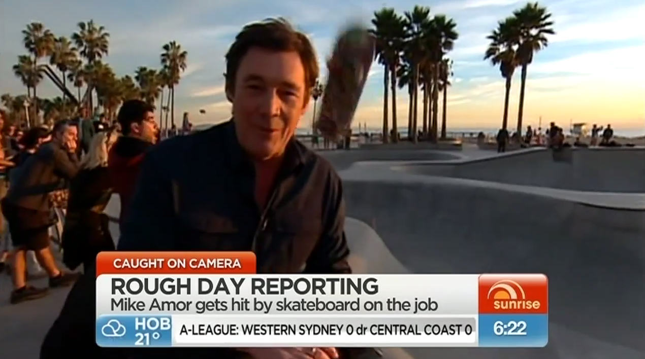 News Reporter Perfectly Headshotted By Flying Skateboard 267