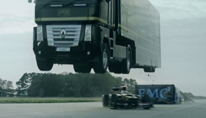 Death Defying Stunt Sees A Lorry Jump Over A Moving F1 Race Car %name