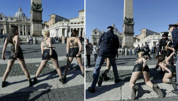 FEMEN Women Protested Against The Pope By Putting Crucifixes Up Their Arses   Watch FEMEN web thumb