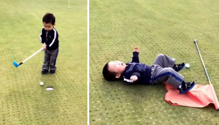 Little Lad Goes Crazy After Missing A Hole In Golf golf web thumb