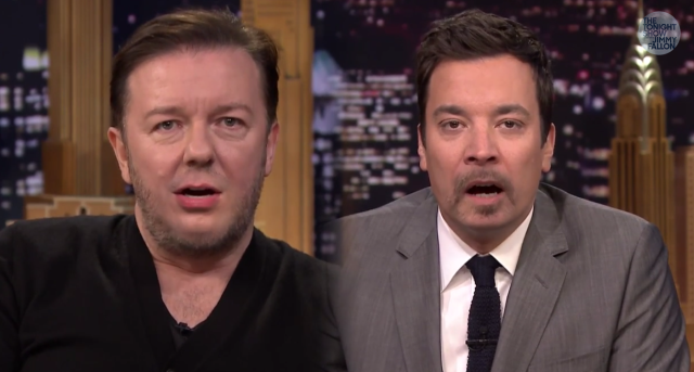 Ricky Gervais And Jimmy Fallon Swap Mouths And Its Hilarious lip flip