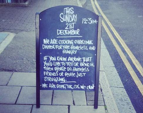 North London Pub Offering Christmas Dinners For The Homeless pub sign e1418892047231
