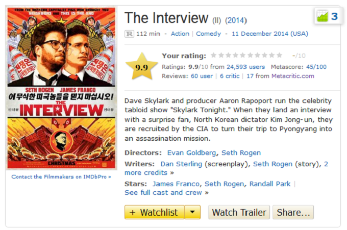 The Interview Is Becoming The Most Highly Rated Film On IMDB zg4leqj9vlxs2xrw37ch