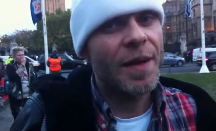 Brian Harvey Launches Attack At Radio One Brian Harvey at Occupy Demo GQ 23Oct14 b e1422193077584