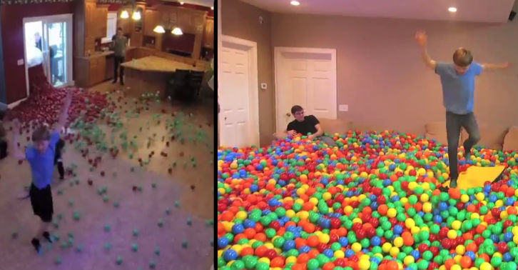YouTube Prankster Turns Home Into Giant Ball Pit balls fb thumb