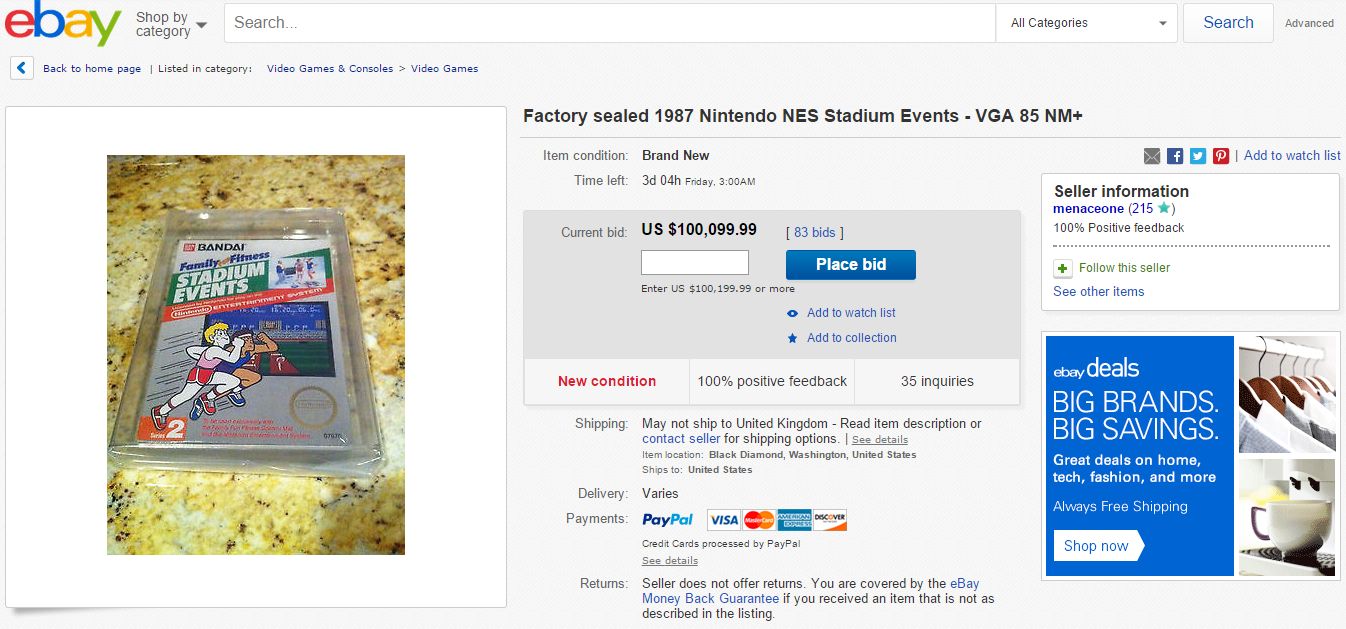 Rare Video Game Going For Over $100K On Ebay game 1