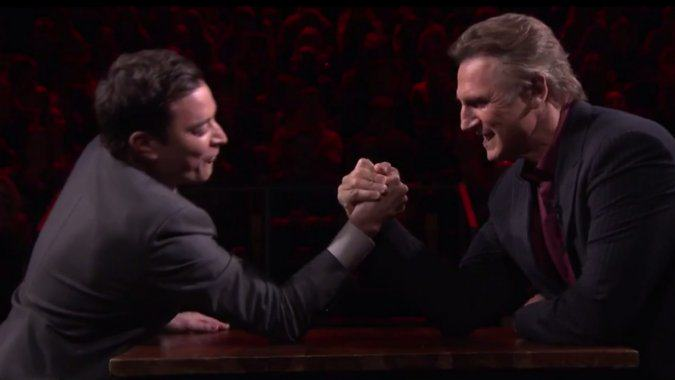 Jimmy Fallon Challenges Liam Neeson To An Arm Wrestle liam fallon arm wrestle