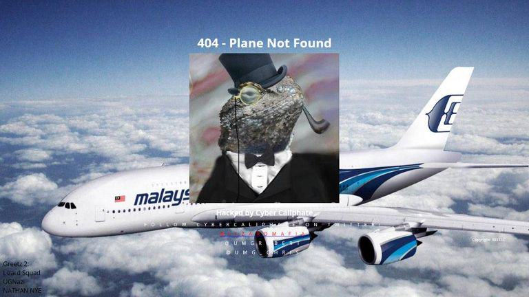 Lizard Squad Hack Malaysia Airlines Website With Plane Not Found Message lizard squad hack pic