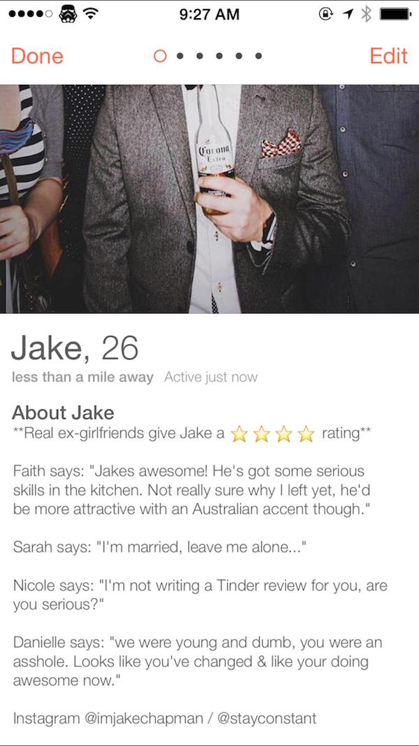 Lad Gets Exes To Write Honest Reviews For His Tinder Profile tinder ex review elite daily 1
