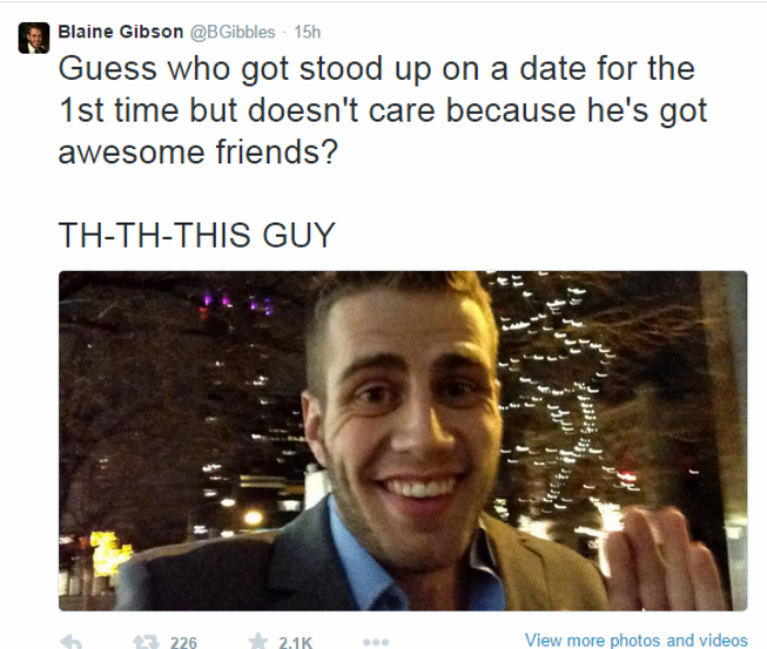 Guys Date Stands Him Up, So He Shares A Date With Twitter 2