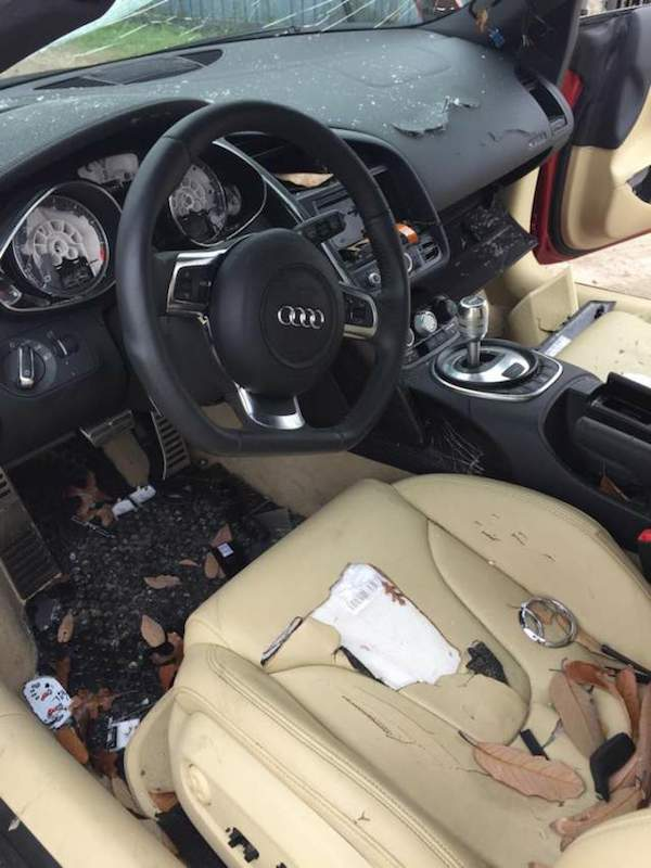 Woman Completely Trashes Cheating Husbands £100K Audi R8 a31
