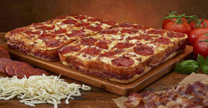This Pizza Is Wrapped In Three And A Half Feet Of Bacon bacon wrapped pizza
